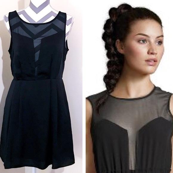 7236730725 BCBGeneration Dresses | Bcbg Sheer Illusion Fit Flare Dress | Poshmark